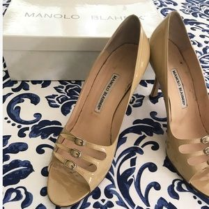 Manolo Blahnik camel patent Mary Janes